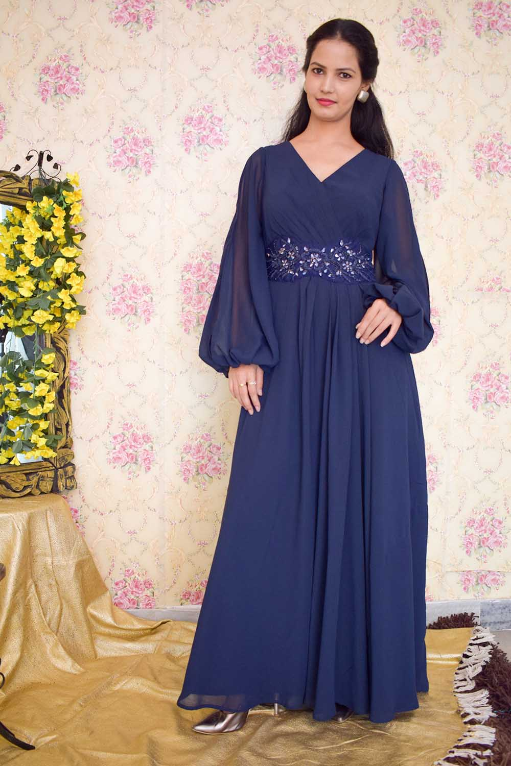 Blue Embroidered Evening Gown