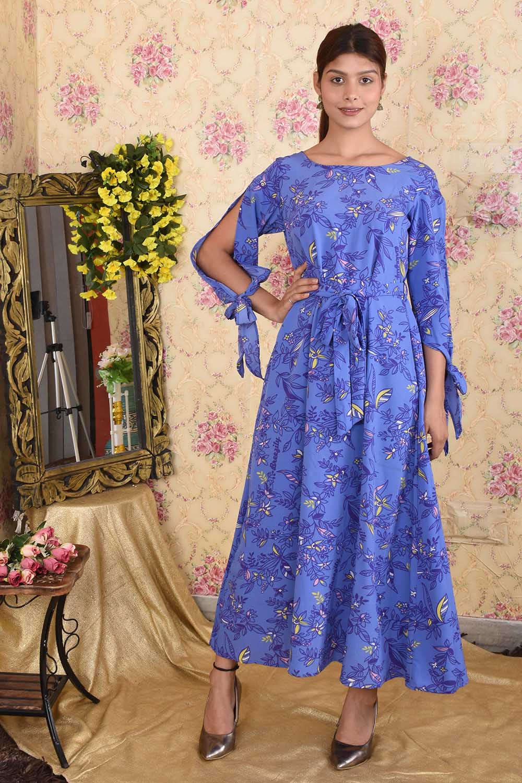 Blue Floral Printed Crepe Maxi Dress