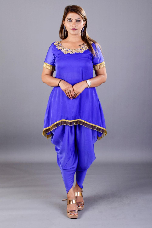 Blue Kurti and Dhoti Set