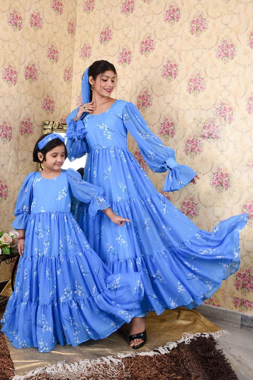 Blue Massive Flare Mother Daughter Set