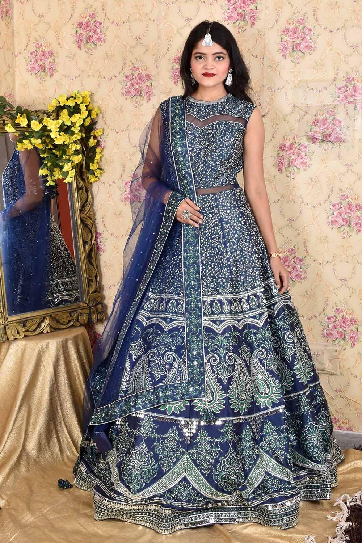 Blue Mirror work Gown with Dupatta