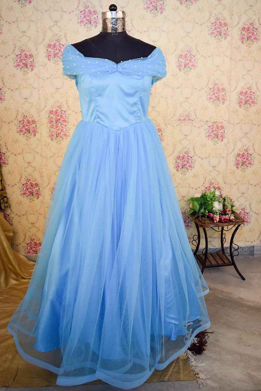 Blue Off Shoulder Flared Gown