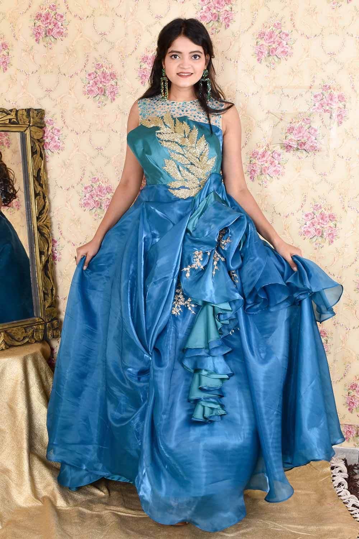 Blue Organza Draped Gown