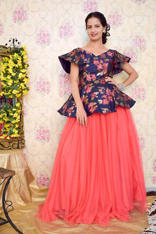 Blue-Pink Skirt Top Set