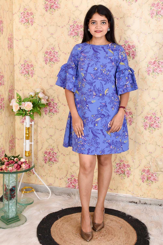 Blue Printed A - Line Crepe Dress