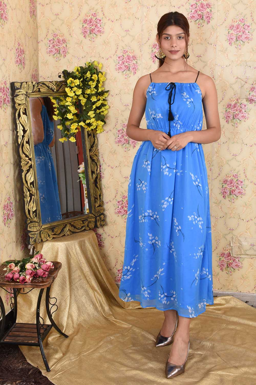 Blue Printed Chiffon Maxi Dress