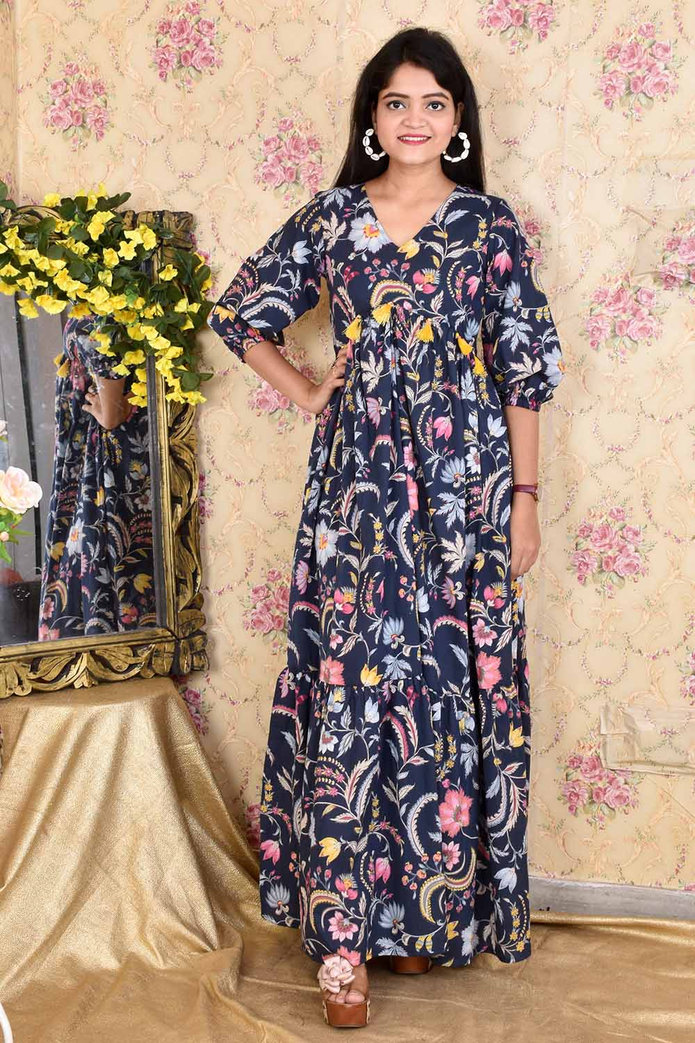 Blue Printed Cotton Gown