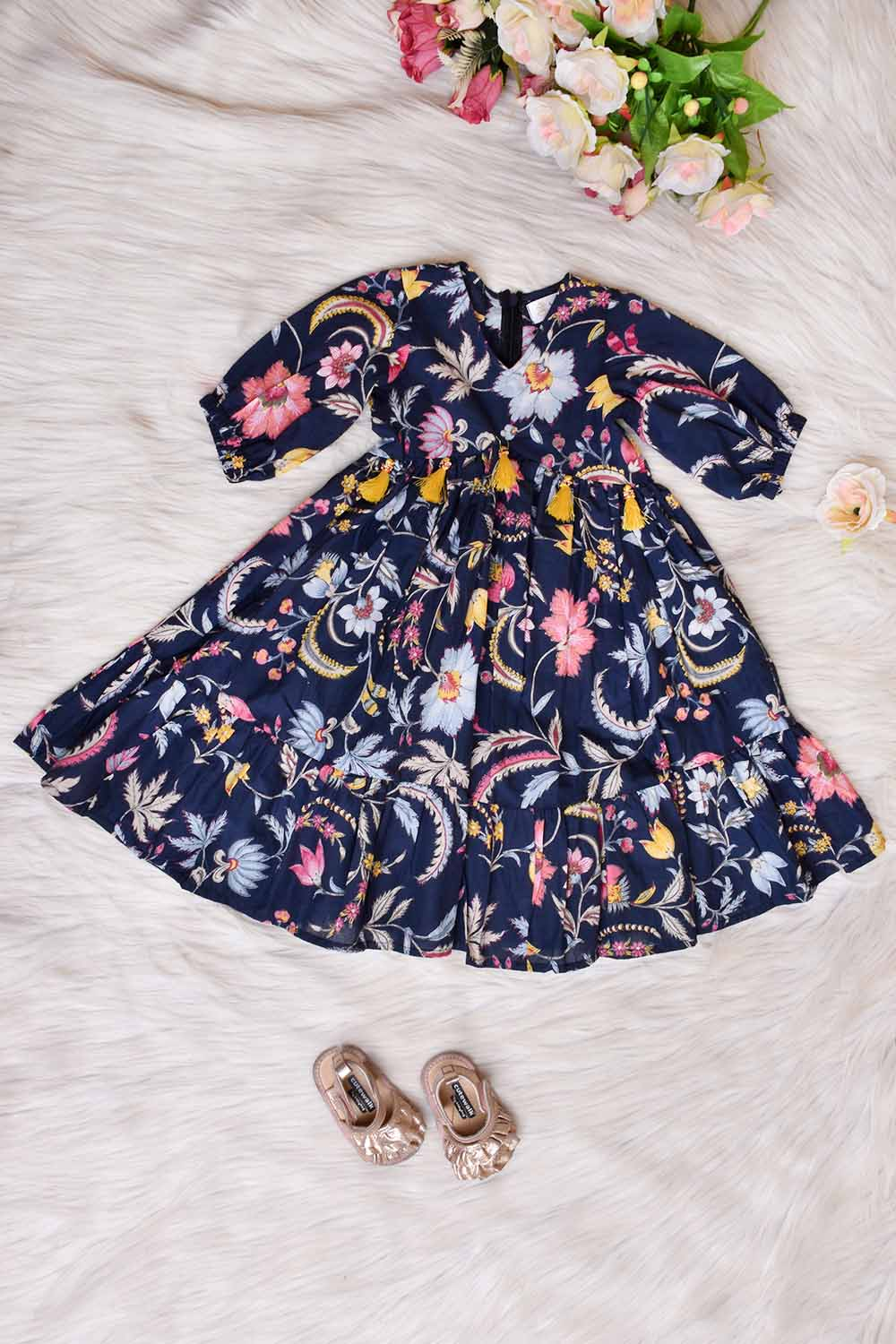 Blue Printed Cotton Kids Gown