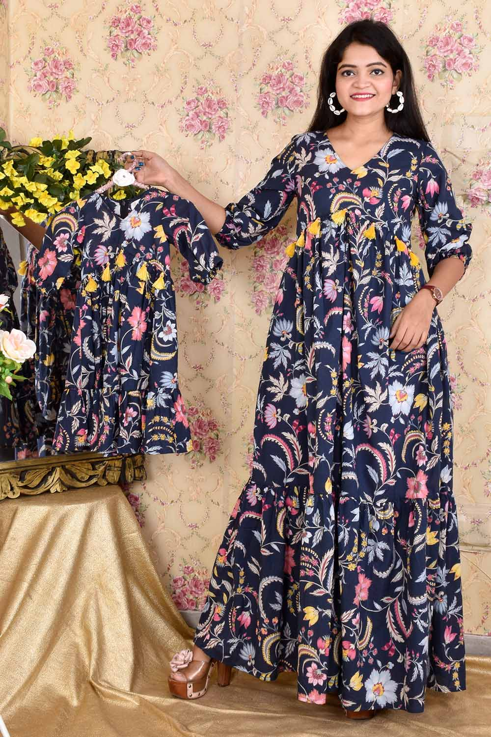Blue Printed Cotton Mother-Daughter Gown Combo
