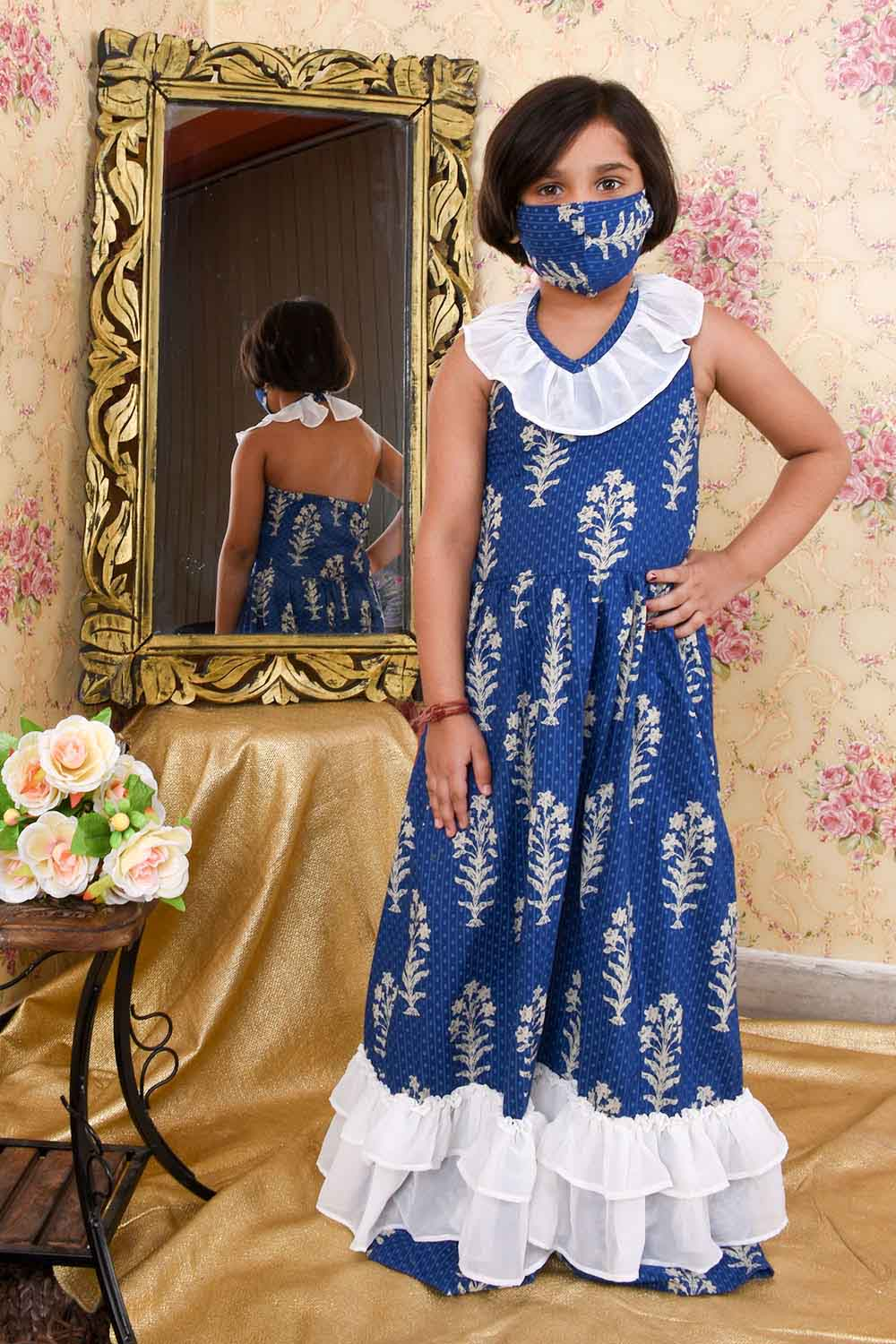 Blue Printed Halter Neck Maxi dress with Mask