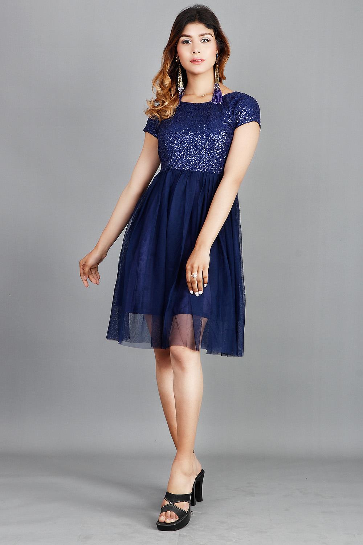 Blue Sequins and Net Short Dress