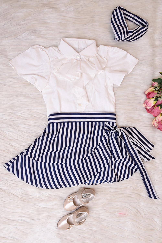 Blue Striped Top Skirt Set