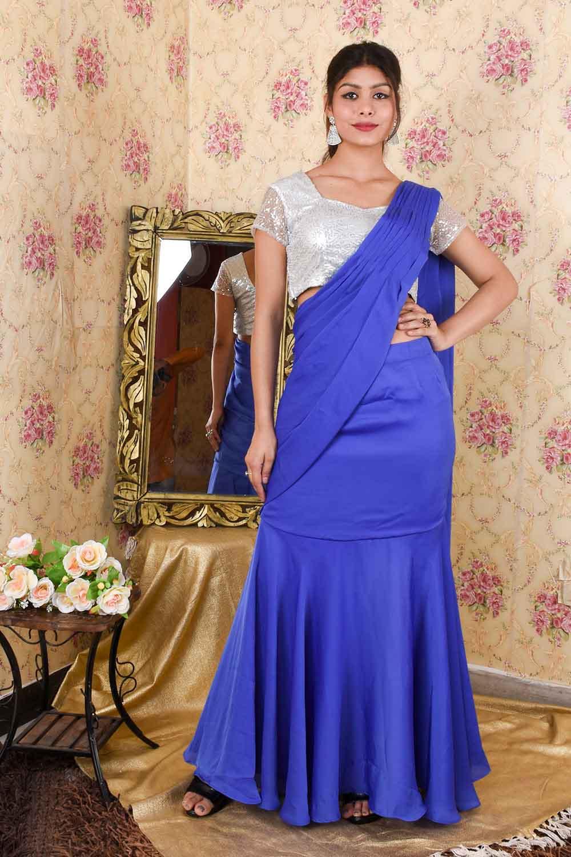 Blue and Silver Draped Saree