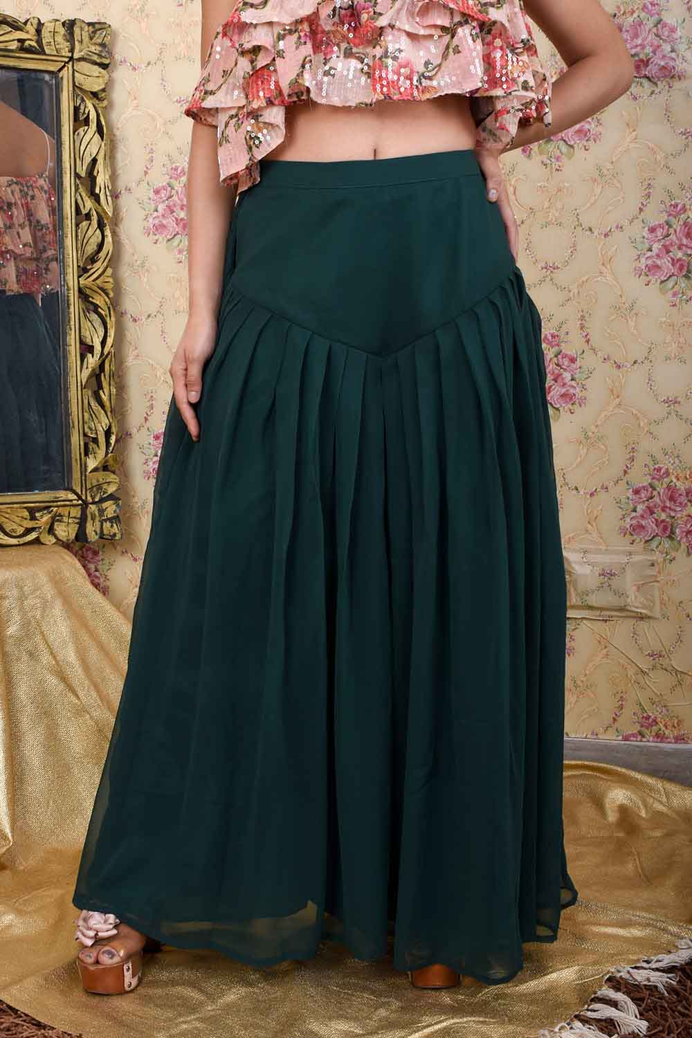 Bottle Green Flared Palazzo