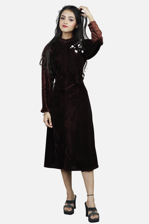 Brown Velvet High-Neck Midi Dress