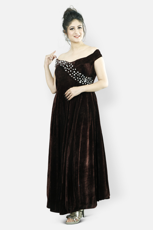Brown Velvet Off Shoulder Dress