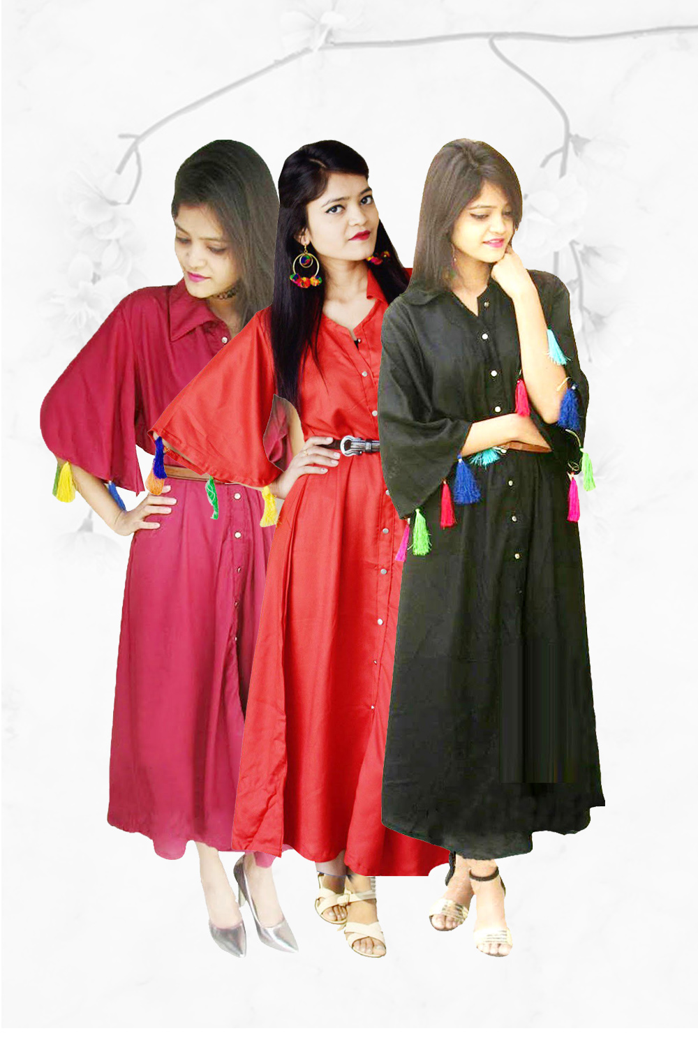 Button Down Kurti Combo (Pack of 3 Black,Maroon,Orange)