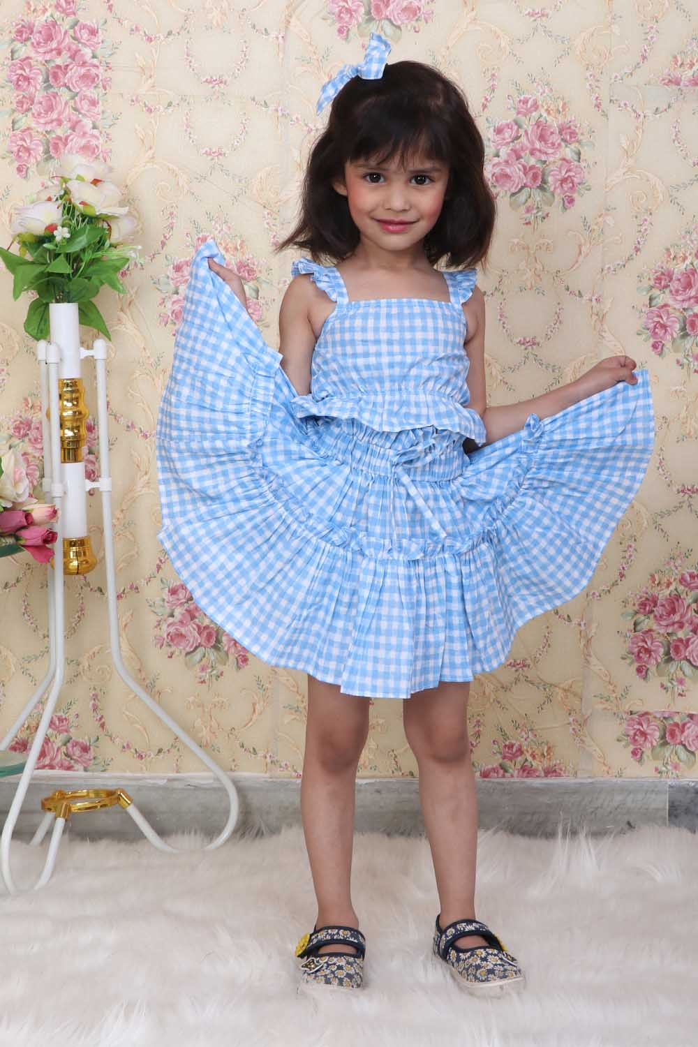 Check and Mate Skirt-Top Set with matching hair clip
