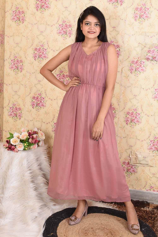 Dusty Pink Georgette Maxi Dress
