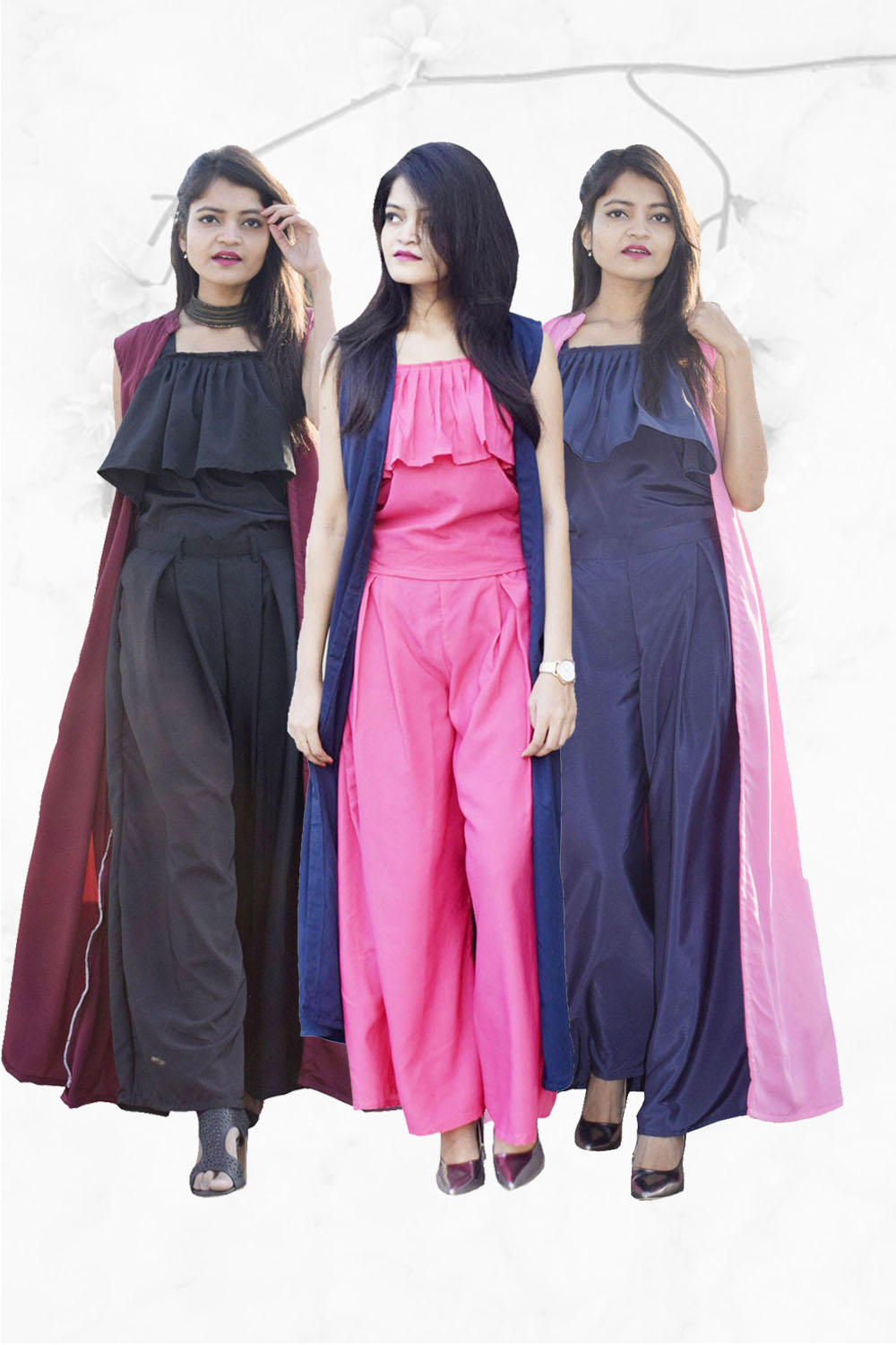 Easy Go Co Ord Combo (Pack of 3 Navy Blue, Black, Pink)