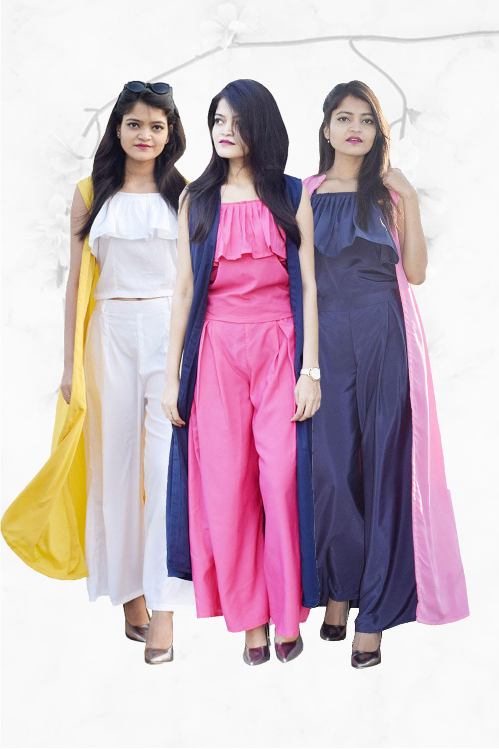 Easy Go Co Ord Combo (Pack of 3 Navy Blue, White, Pink)