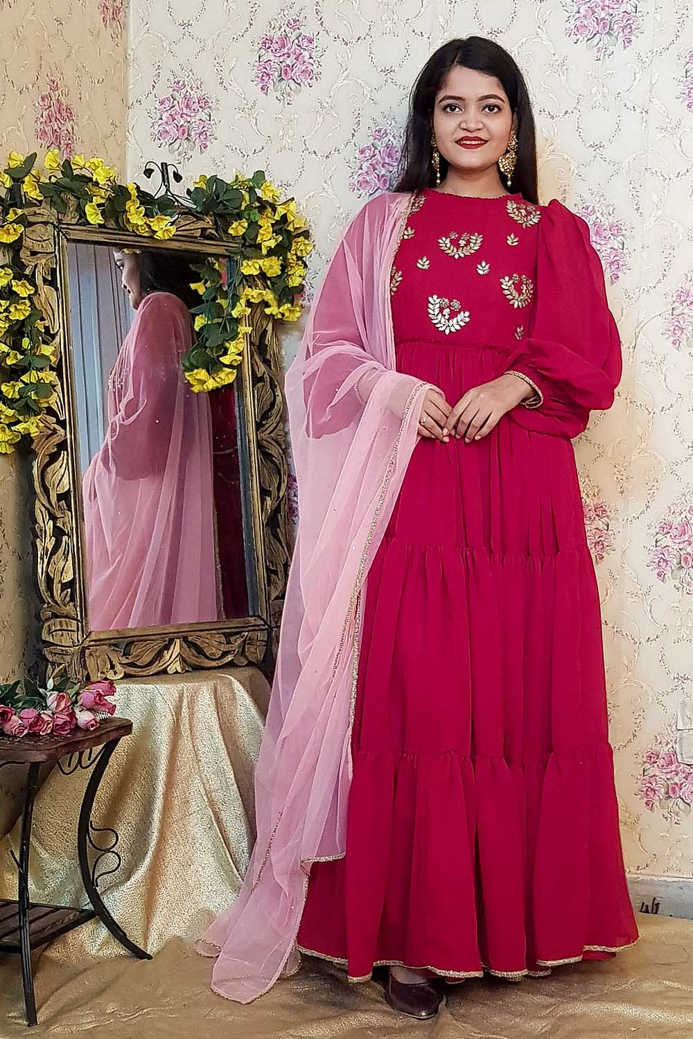 Embroidered Flared Anarkali with Dupatta