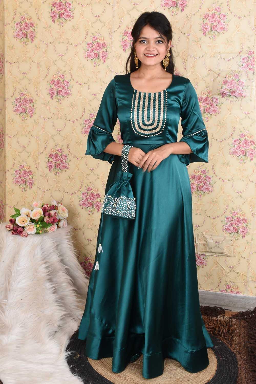 Emerald Green Party-wear Anarkali