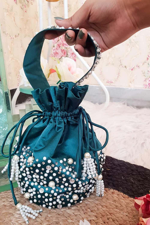 Emerald Green Pearl Work Potli Bag
