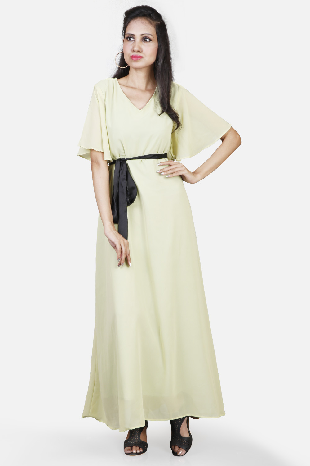 Flared Sleeves Maxi With Waist Tie