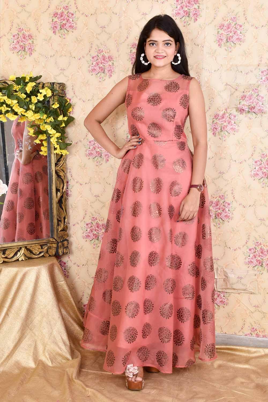 Foil Print Organza Gown