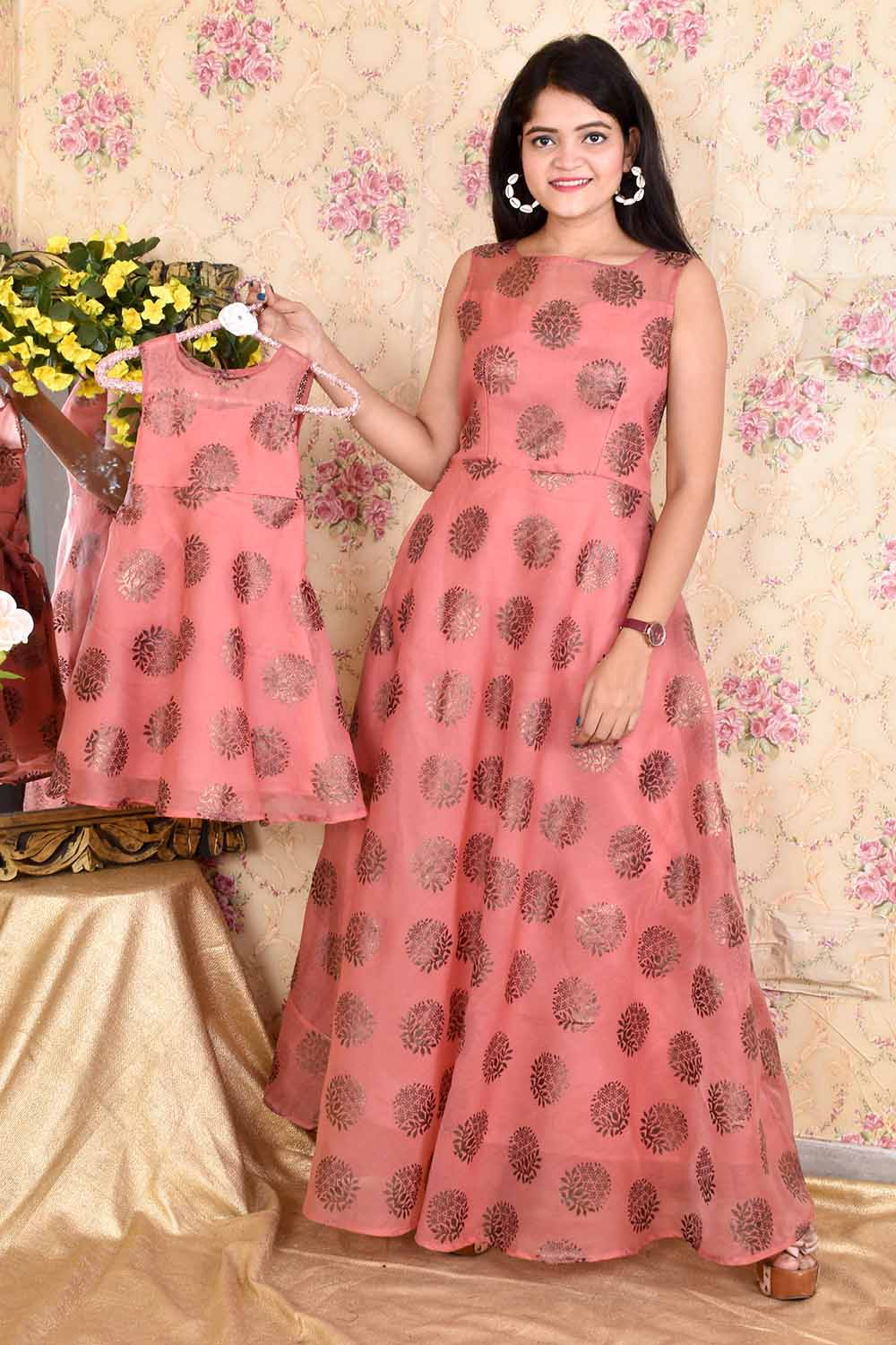 Foil Print Organza Mother-Daughter Gown Combo