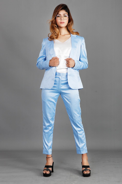 Formal Sky blue Satin Coat-Pants-Top Set