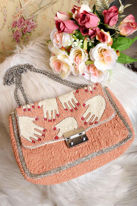 Fully Beaded Peach Sling Bag