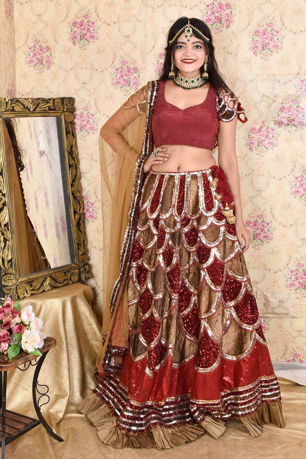 Fully Embroidered Sequins Lahenga