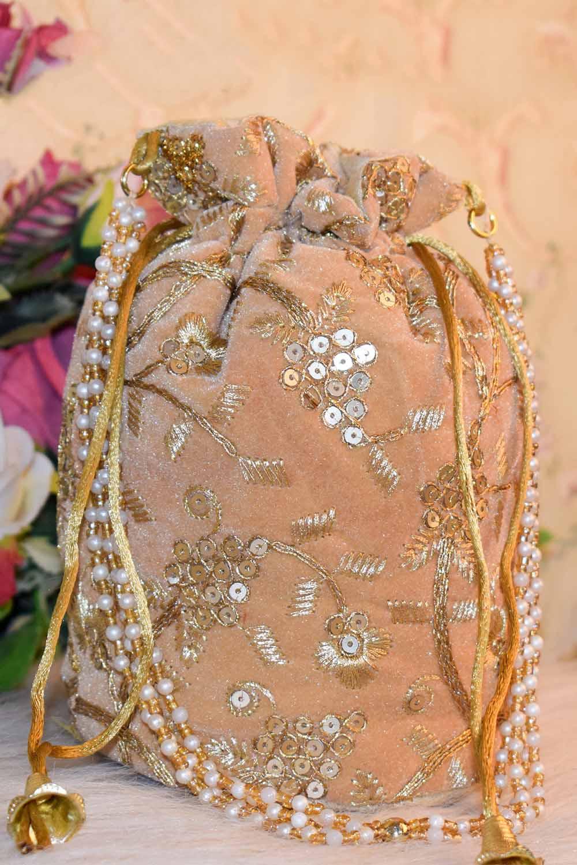 Golden Embellished Potli Bag