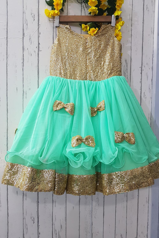 Green- Golden Bows Love Frock