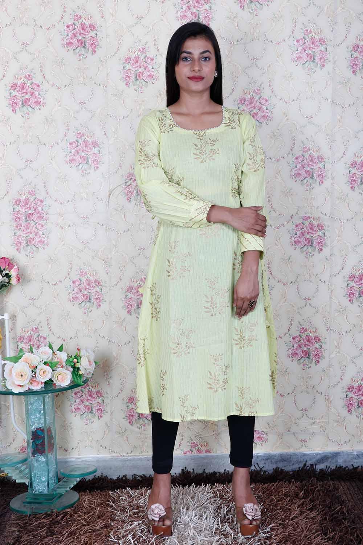 Green Foil Print A-Line Dress
