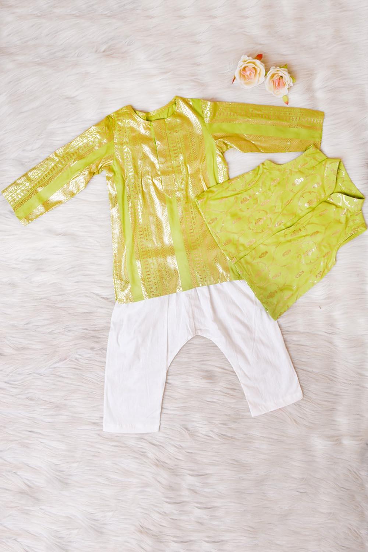 Green Foil Printed Kurta Pant Set