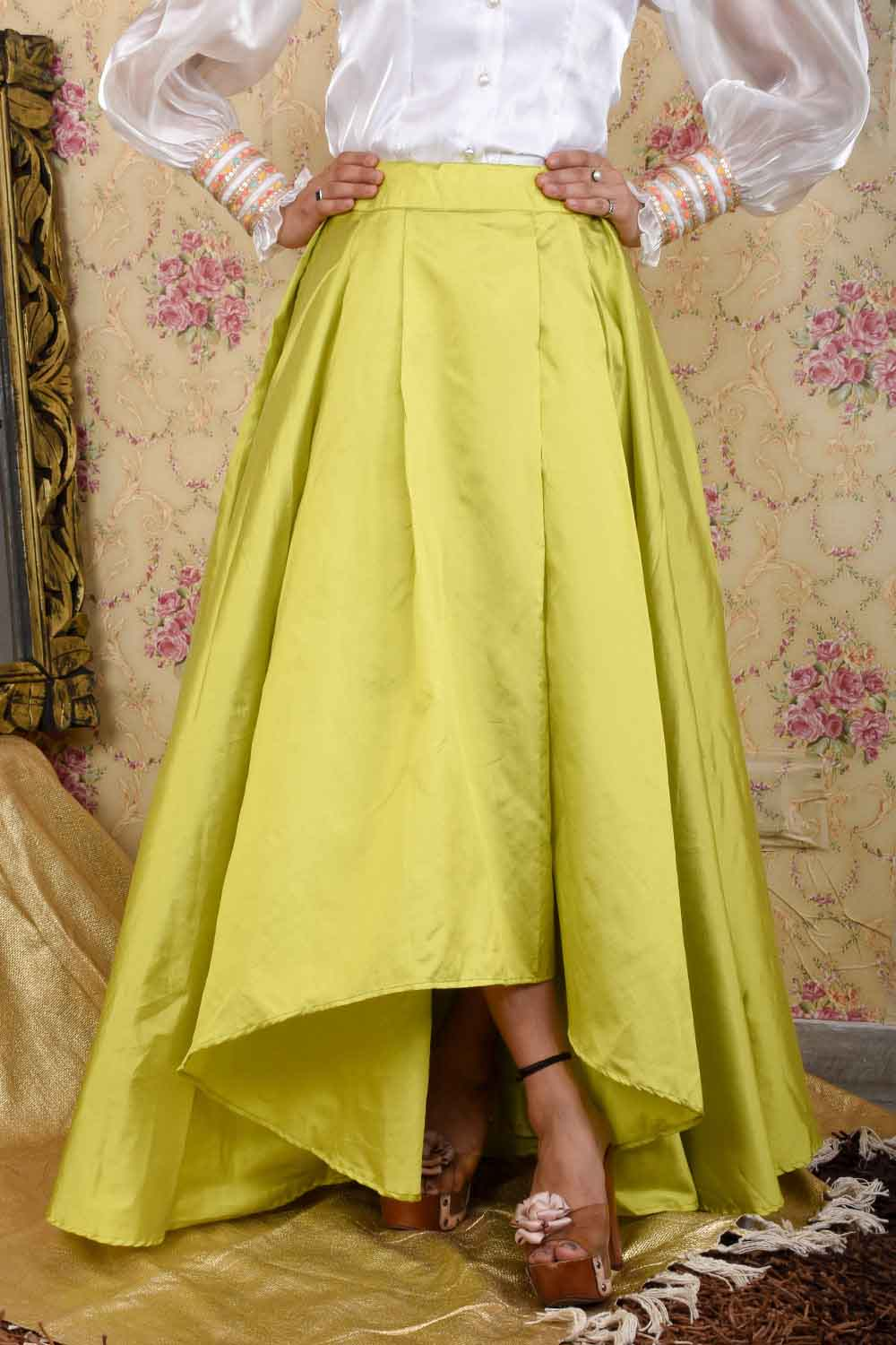 Green High-Low Flared skirt