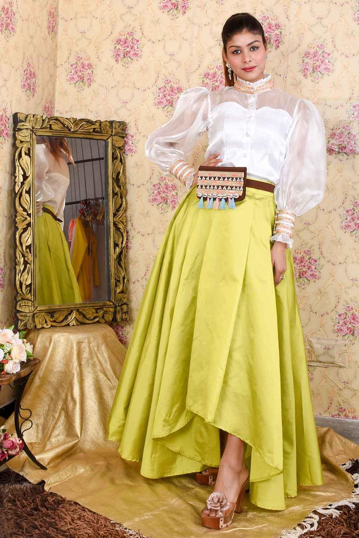 Green-White Skirt Top Set with Bag