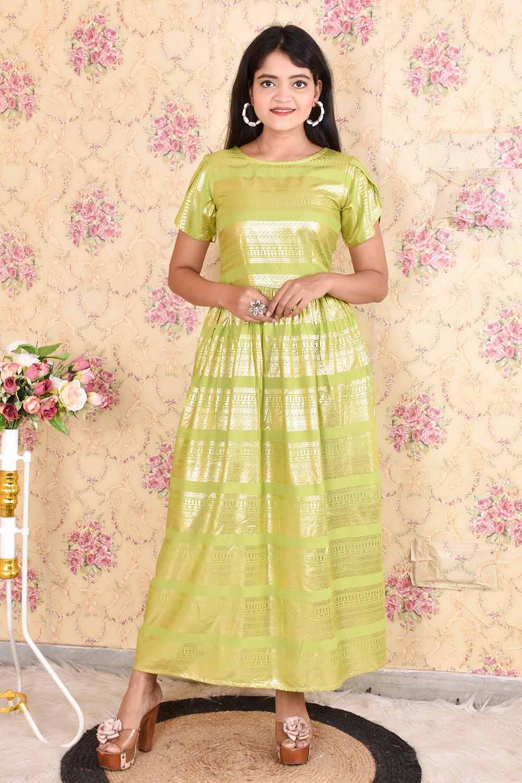Green foil printed Reyon  Maxi