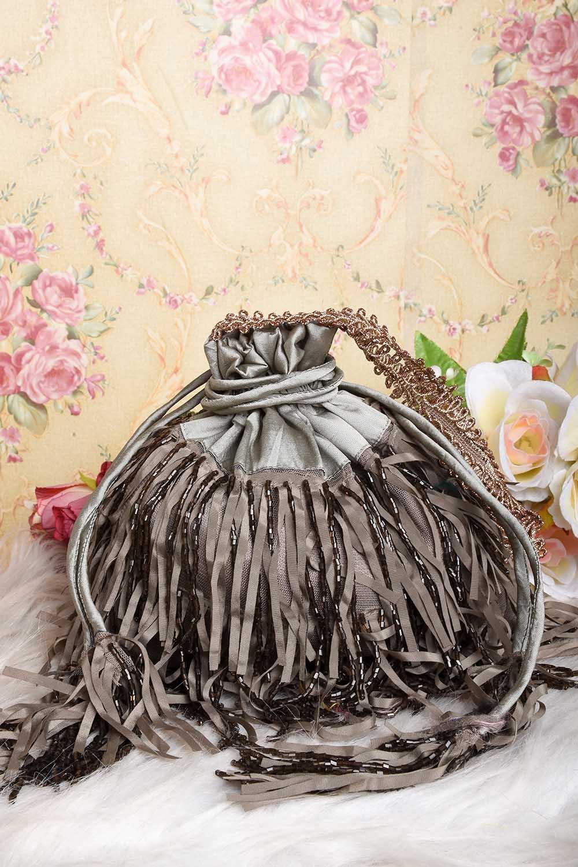 Grey Fringes love Potli Bag