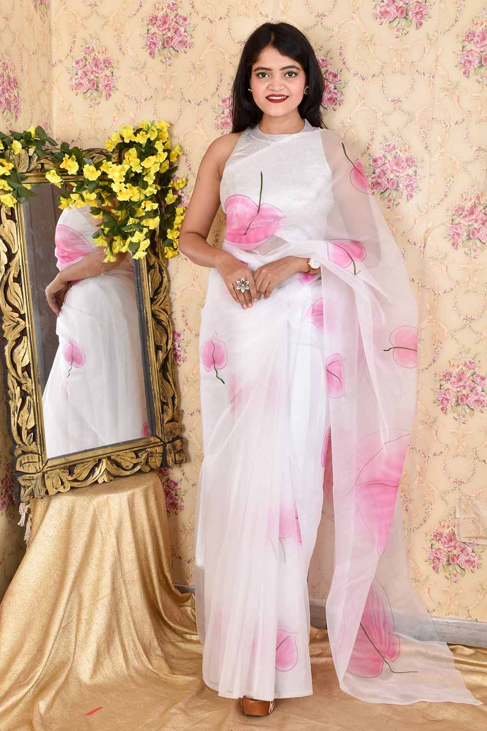 Hand Painted Organza Sari with Unstitched Blouse Piece