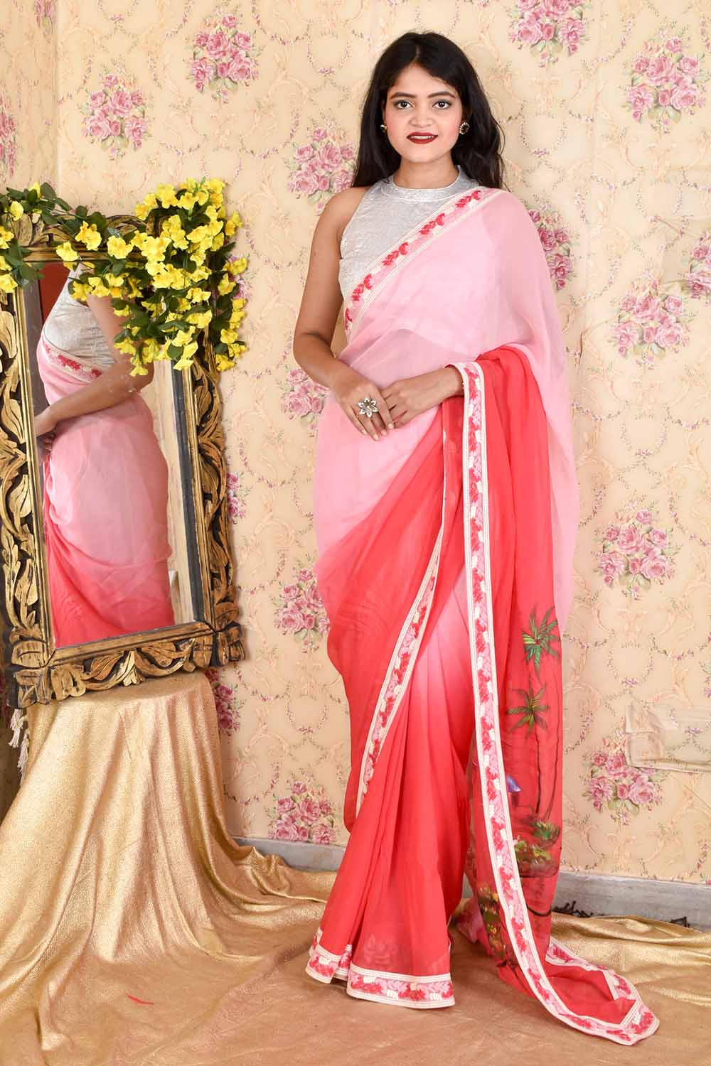 Hand Painted Pure Georgette Sari with unstitched blouse piece