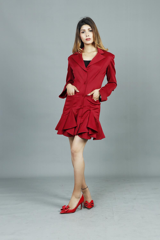 Hanna Scuba Notched Collar Dress
