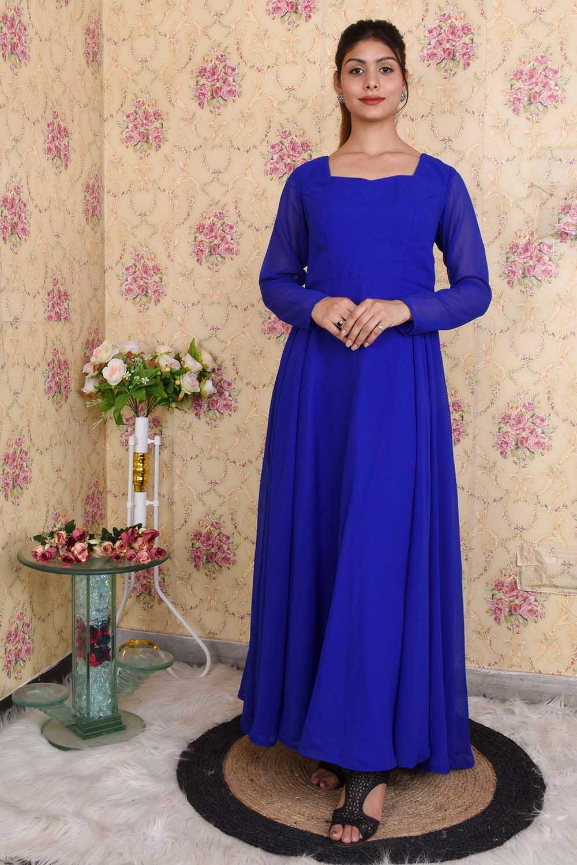 Royal Blue Backless Anarkali
