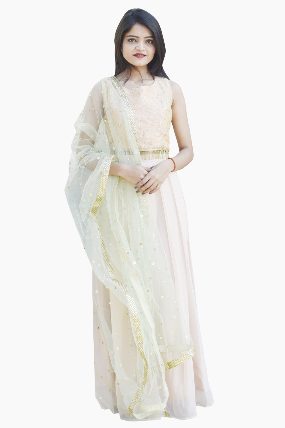 Isabella Crop Top and Skirt with Dupatta