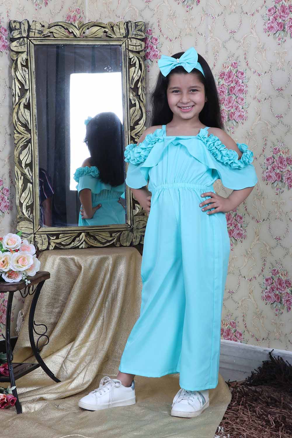 Skyblue Jumsuit with Flared Sleeves with Matching Hairband