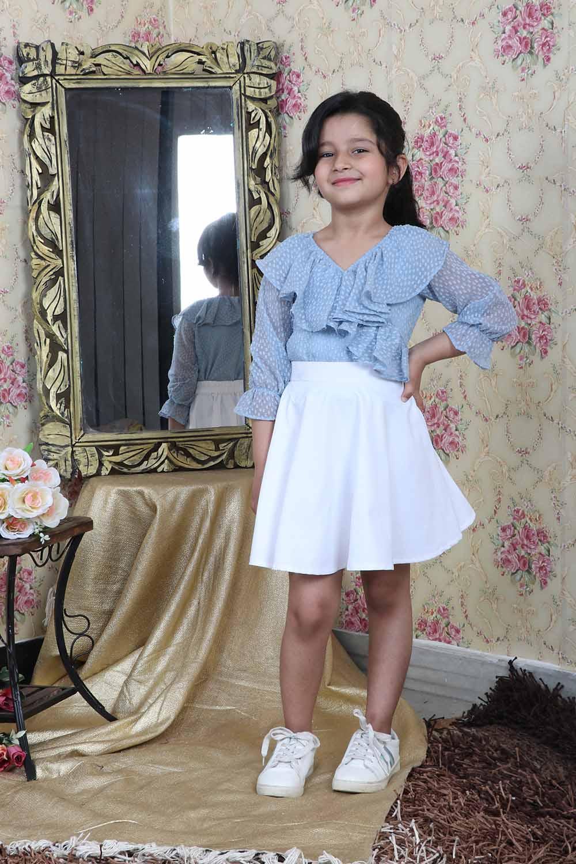 Grey-White Flared Skirt-Top Set