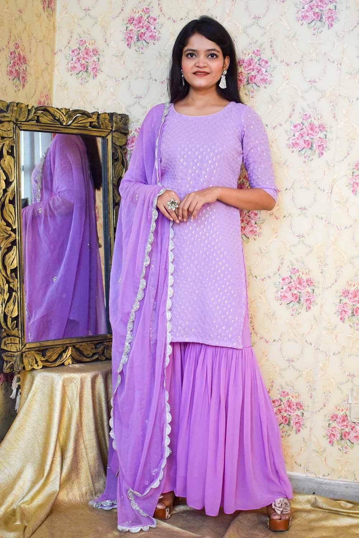 Lavender Chikankari Sharara Suit with Dupatta
